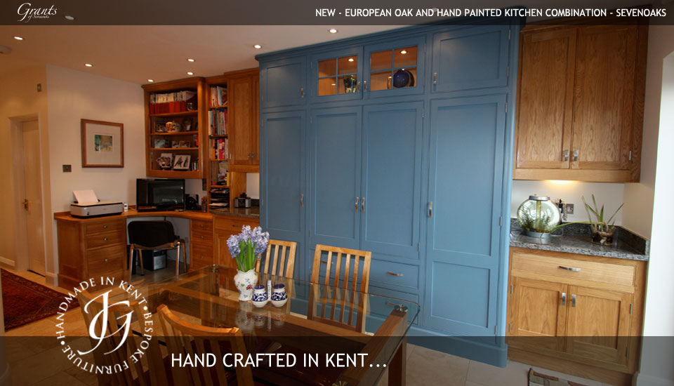 European oak and hand painted kitchen combination - Sevenoaks